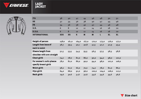 Dainese Size Chart Australia Dainese Sf Pelle Ladies
